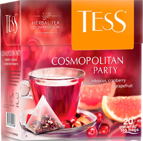TESS COSMOPOLITAN PARTY HIBISCUS, CRANBERRY & GRAPEFRUIT 20 пирамидок