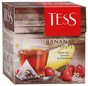 TESS BANANA SPLIT BLACK TEA, BANANA & STRAWBERRY 20 пирамидок